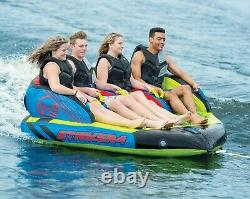 1 2 3 or 4 Person Towable Tube Water Raft 50' Tow Rope Pump HO Sports Striker 4