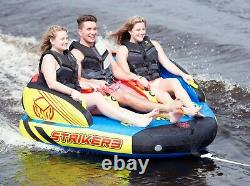 1 2 or 3 Person Towable Tube Water Raft 50' Tow Rope & Pump HO Sports Striker 3