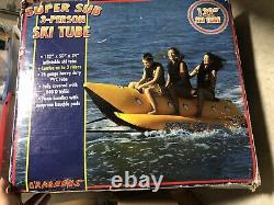 132 Inflatable Towable 3 Person Fun Tube Ski Water Lake Raft Ride NEW Open Box