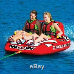 2 Person Coupe Inflatable Cockpit Towable Water Tubing Pool Lake Water Sports
