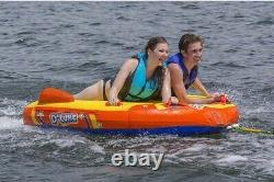2 Person Inflatable Boat Towable Deck Tube Water Tow Raft Float Flocked 70 NEW
