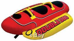 2 Person Lake Inflatable Hot Dog Towable Banana Boat Water Sport Ski Tube Rope
