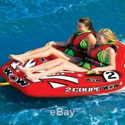 2-Person Water Sports Towable Deck Tube Inflatable Rider Raft Boat Lake Float
