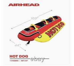 AIRHEAD Hot Dog 3-Person Watersports Towable Water Raft Tube Boat Inflatable Red