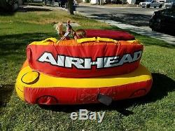 AIRHEAD Live Wire 2 Inflatable 1-2 Rider Boat Towable Lake Water Tube USED