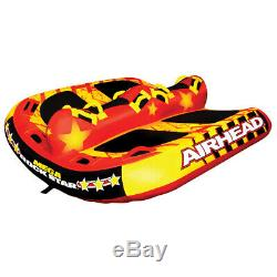 AIRHEAD Mega Towable Water Tube Inflatable Tow Behind Boat Lake 6 Riders Big Red