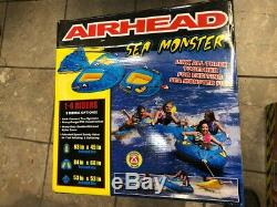Airhead 4-Person Sea Monster Towable Water Tube with Kwik Connect Tow System NEW