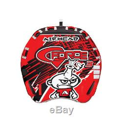 Airhead AHGF-3 G-Force Inflatable Triple Rider Towable Water Tube Kwik Connect