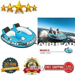 Airhead AHM2-2 Mach 2 Inflatable 2 Rider Cockpit Lake Water Towable Tube, Blue