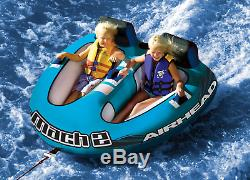 Airhead AHM2-2 Mach 2 Inflatable 2 Rider Cockpit Lake Water Towable Tube, Blue
