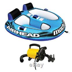 Airhead AHM2-2 Mach 2 Inflatable 2 Rider Water Towable Tube with Electric Pump