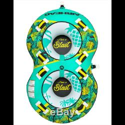 Airhead BLAST 2 Inflatable Open Top 2-Person Towable Water Tube, Green(Open Box)