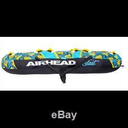 Airhead BLAST 3 Inflatable Open Top 3-Person Towable Water Tube, Tropical Blue