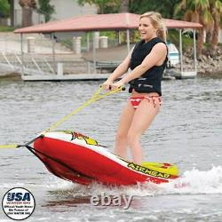 Airhead Big EZ Ski Inflatable Water Skiing Training Towable Tube with 60' Tow Rope