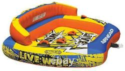 Airhead Live Wire 3 Inflatable 1-3 Rider Boat Towable Lake Water Tube (Used)