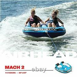 Airhead Mach 2 1-2 Rider Cockpit Lake Water Towable Tube Boating Blue