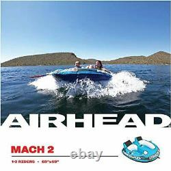 Airhead Mach 2 1-2 Rider Towable Tube for Boating Lake Water Towable Tube Blue
