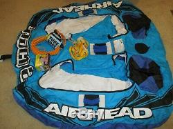 Airhead Mach 2 Inflatable 2 Rider Cockpit Lake Water Towable Tube, Blue