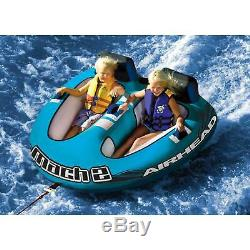 Airhead Mach 2 Inflatable 2 Rider Cockpit Lake Water Towable Tube, Blue (Used)