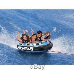 Airhead Mega Rukus 3 Person Rider Inflatable Water Towable Tube Deck Boat Lake