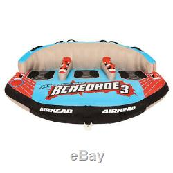 Airhead Renegade 3 Person Inflatable Towable Water Tube Kit with Boat Rope & Pump