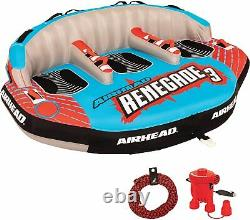 Airhead Renegade Big Inflatable Towable Water Tube Seat Rider Boating Tubing Kit