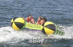 Airhead Thrust Inflatable Boat Towable Water Sport Deck Inner Tube, 3 Riders