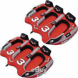 Airhead Viper 3 Triple Rider Cockpit Inflatable Towable Lake Water Tube (2 Pack)