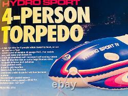 American Camper 4 Person Inflatable Torpedo Towable Tube Float Water Boat