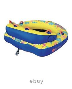 Body Glove Bayside 2 Person Yellow Water Skiing Inflatable Towable Tube