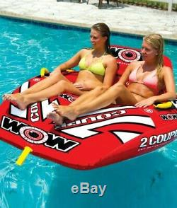 COCKPIT TUBE TOWABLE WATER SKI 2-Person Coupe Boat Inflatable Water Sports Pool