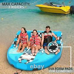 Heavy-Duty Inflatable Towable Booster Tube -Three Person Water Tube Boating F