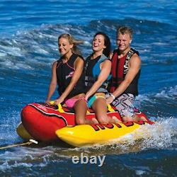 Heavy Duty Water Towable Tube with Fun Hot Dog Design for 1 to 3 Riders
