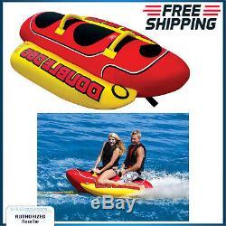 Inflatable Towable 2 Person Hot Dog Boat Tube Ski Lake Water Raft Banana Ride