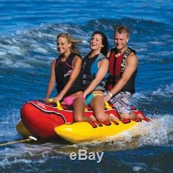 Inflatable Towable 3 Person Hot Dog Fun Tube Ski Water Lake Raft Banana Ride NEW
