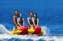 Inflatable Towable 4 Person Hot Dog Fun Tube Ski Water Lake Raft Banana Ride NEW