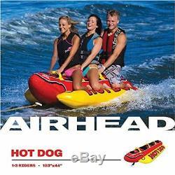Inflatable Towable Hot Dog Banana Tube 1-3 Person Lake Raft Ride Fun Ski Water