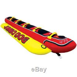 Jumbo Hot Dog 5-Person Rider Inflatable Towable Lake Boat Tube Water Float Sport