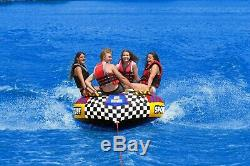 Large Towable Tube 4 Person Big Group Lake Water Sports Tow Rider Inflatable New
