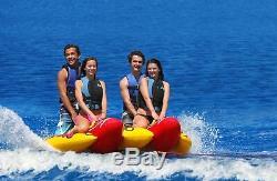 NEW Inflatable Towable 4 Person Hot Dog Fun Tube Ski Water Lake Raft Banana Ride