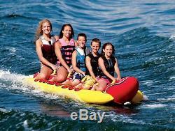NEW Inflatable Towable 5 Person Hot Dog Fun Tube Ski Water Lake Raft Banana Ride