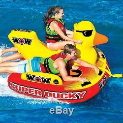 New Wow Super Ducky 1-3 Person Inflatable Tow Lake Boat Tube Towable Water Raft