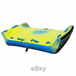 O'Brien Booker Inflatable Towable Water Tube for Boating, 1-3 Riders, Yellow