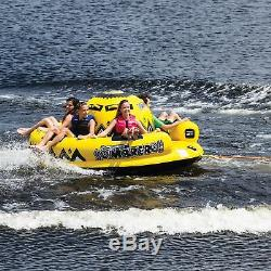 OBrien Inflatable 5 Person Sombrero Towable Boat Lake Water Raft Tube, Yellow