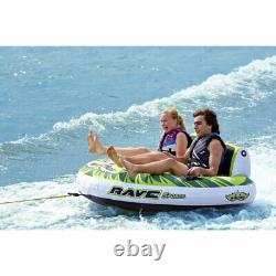 Rave Sports Warrior II 2 Rider Double Seat Inflatable Towable Water Tube, Green