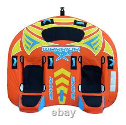 Rave Sports Warrior X3 3 Rider Double Seat Inflatable Towable Water Tube, Orange