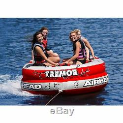 Red 4 Rider Towable Tube Inflatable Boating Water Sport Equipment Swimming Float