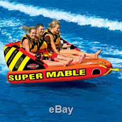 SPORTSSTUFF Super Mable Triple Rider Lake Water fun Boat Towable Tube withrope