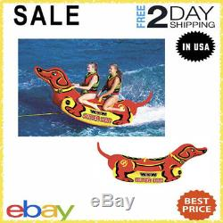 Super Dog 2 Person Inflatable Boat Towable Deck Tube Water Tow Raft Float