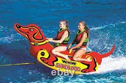 Super Dog Towable Tube With Handles Heavy Duty Inflatable Water Boat, 2 Person